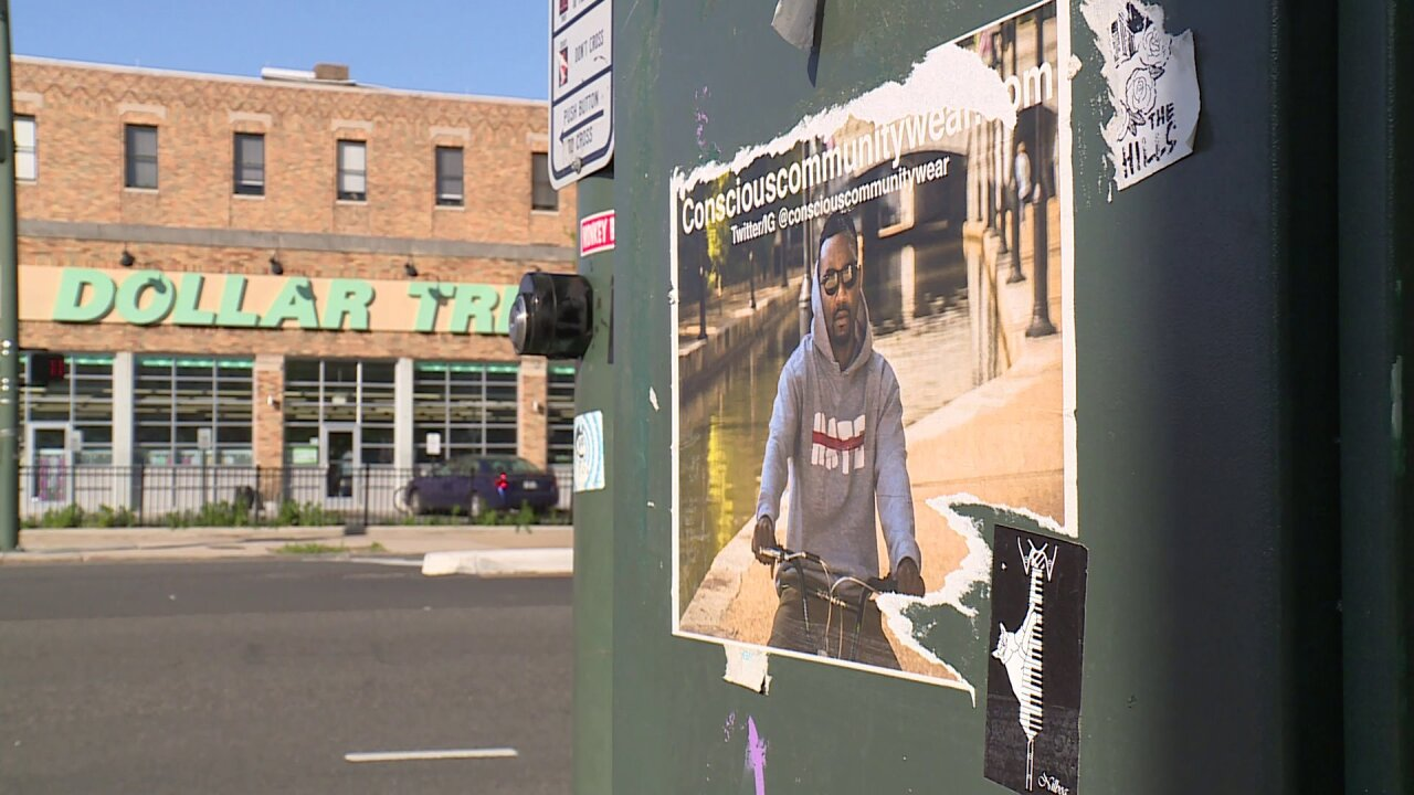 Clothing line ads plastered to resident's privateproperty