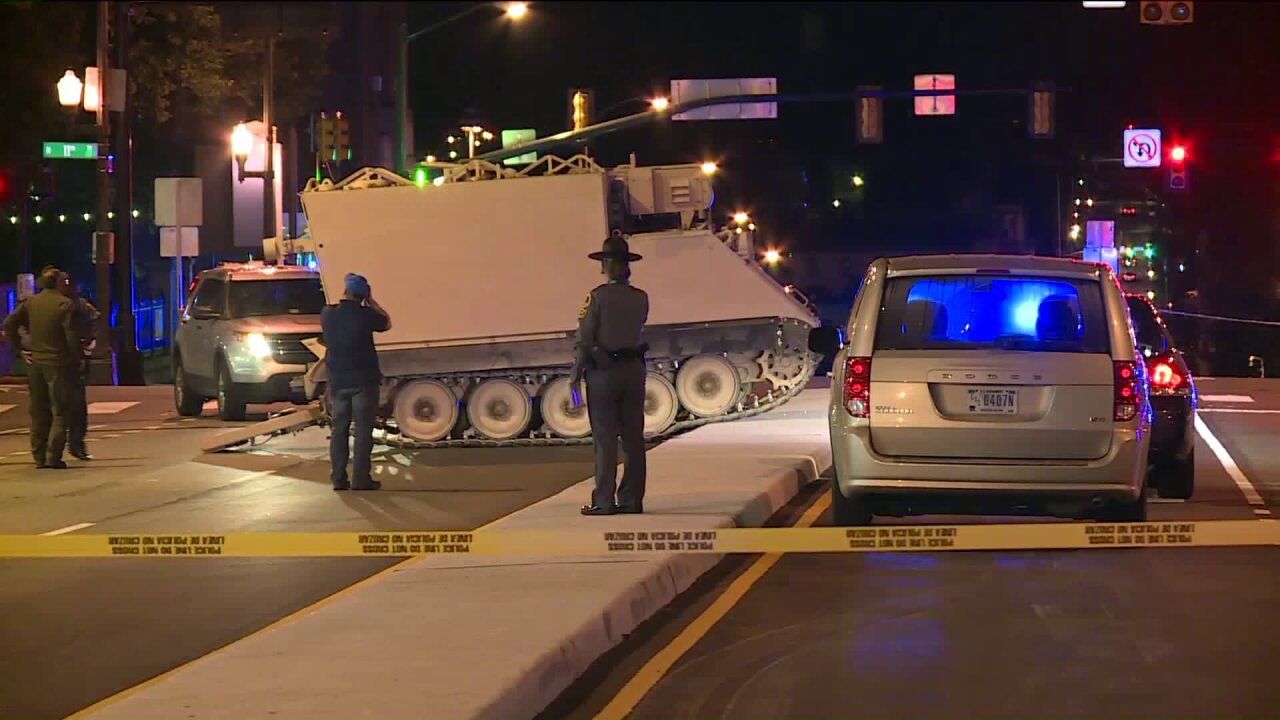 Suspect in police custody after pursuit in stolen armoredvehicle