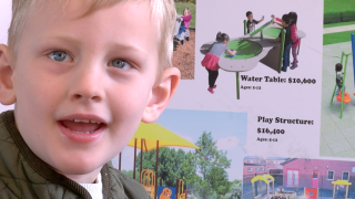 5-year-old Carter Luttmer looks forward to the new inclusive playground on his school campus