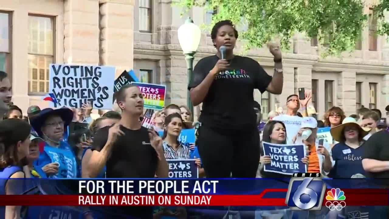 """Democrats rallied in Austin Sunday in favor of the """"For the People Act"""""""