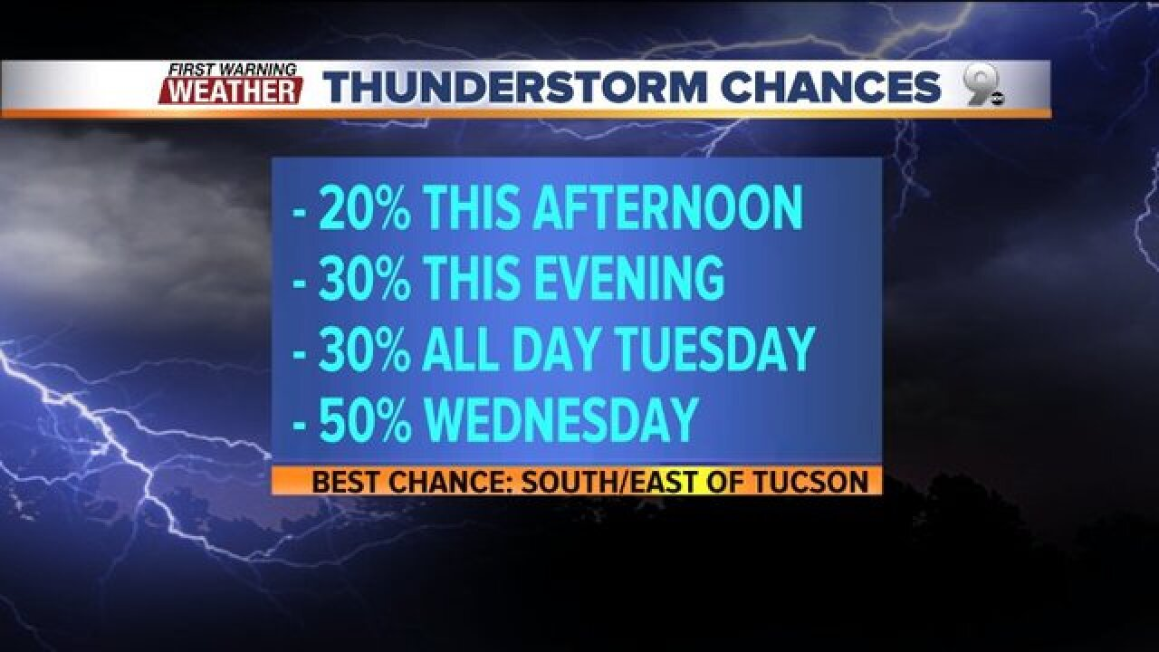 Storm chances increase through midweek!