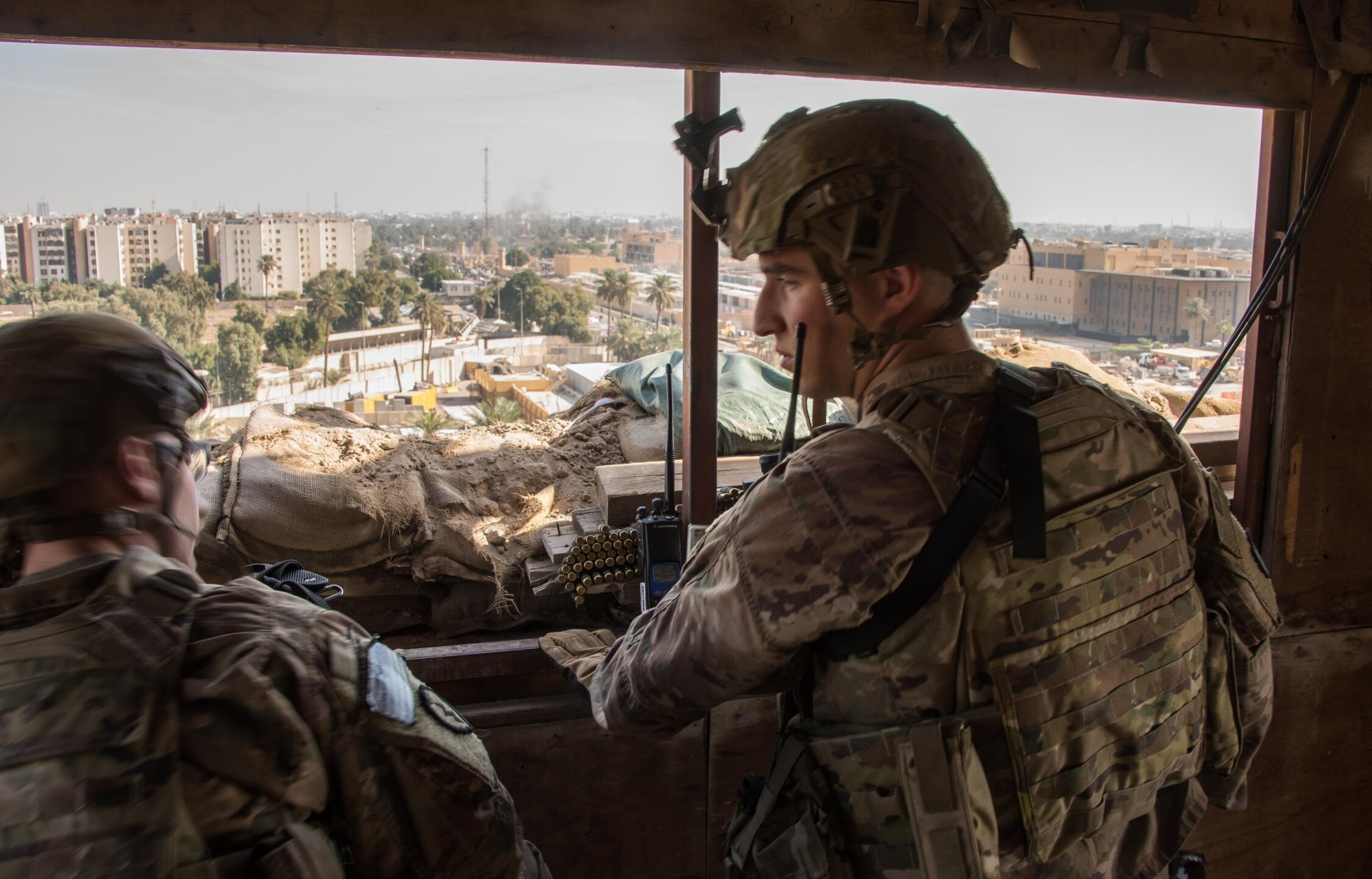U.S. Army Soldiers protect the U.S. Embassy Compound, Baghdad.