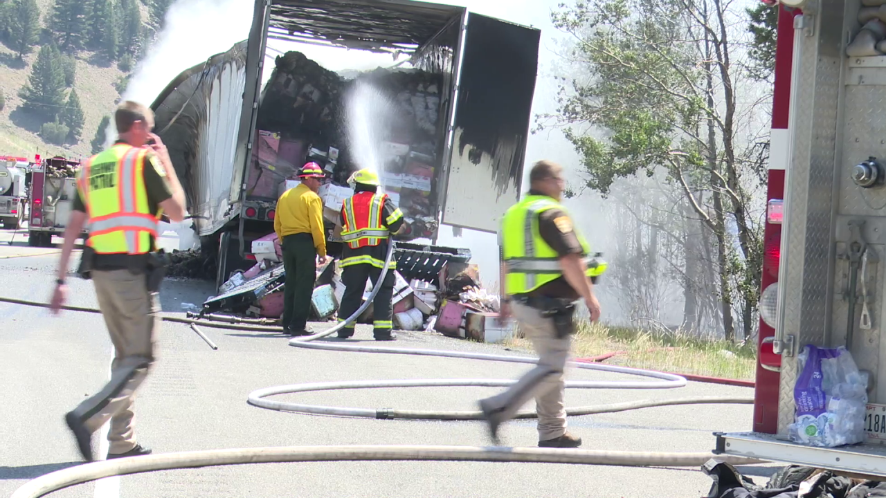 A semi-truck loaded with diapers caught on fire and tied up traffic on Interstate 15 north of Butte on Friday.