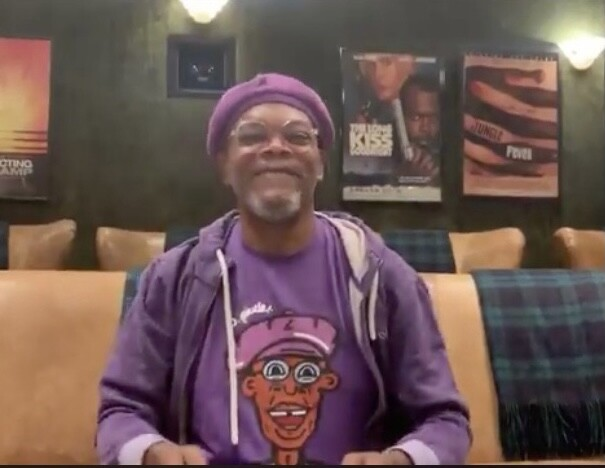 Samuel L. Jackson wearing a J.Pierce t-shirt on Jimmy Kimmel Live!