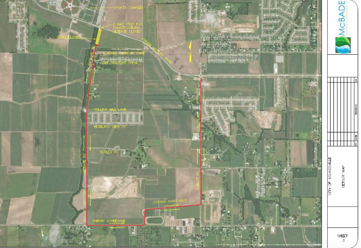 Youngsville detour map roundabout construction