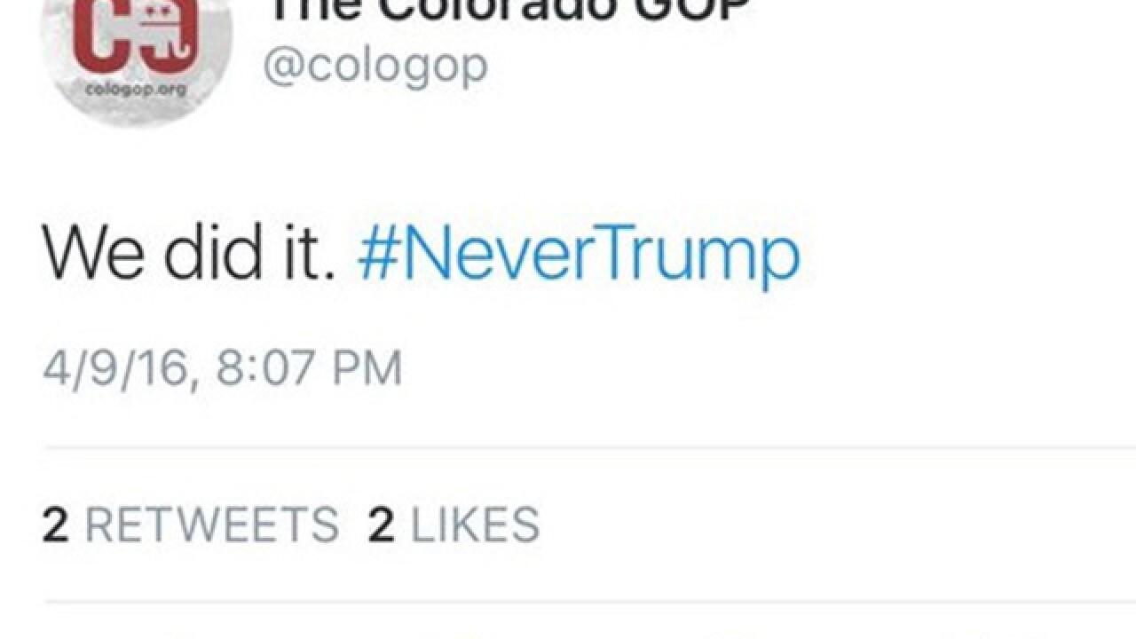 Colo. GOP hastily deletes '#NeverTrump' tweet