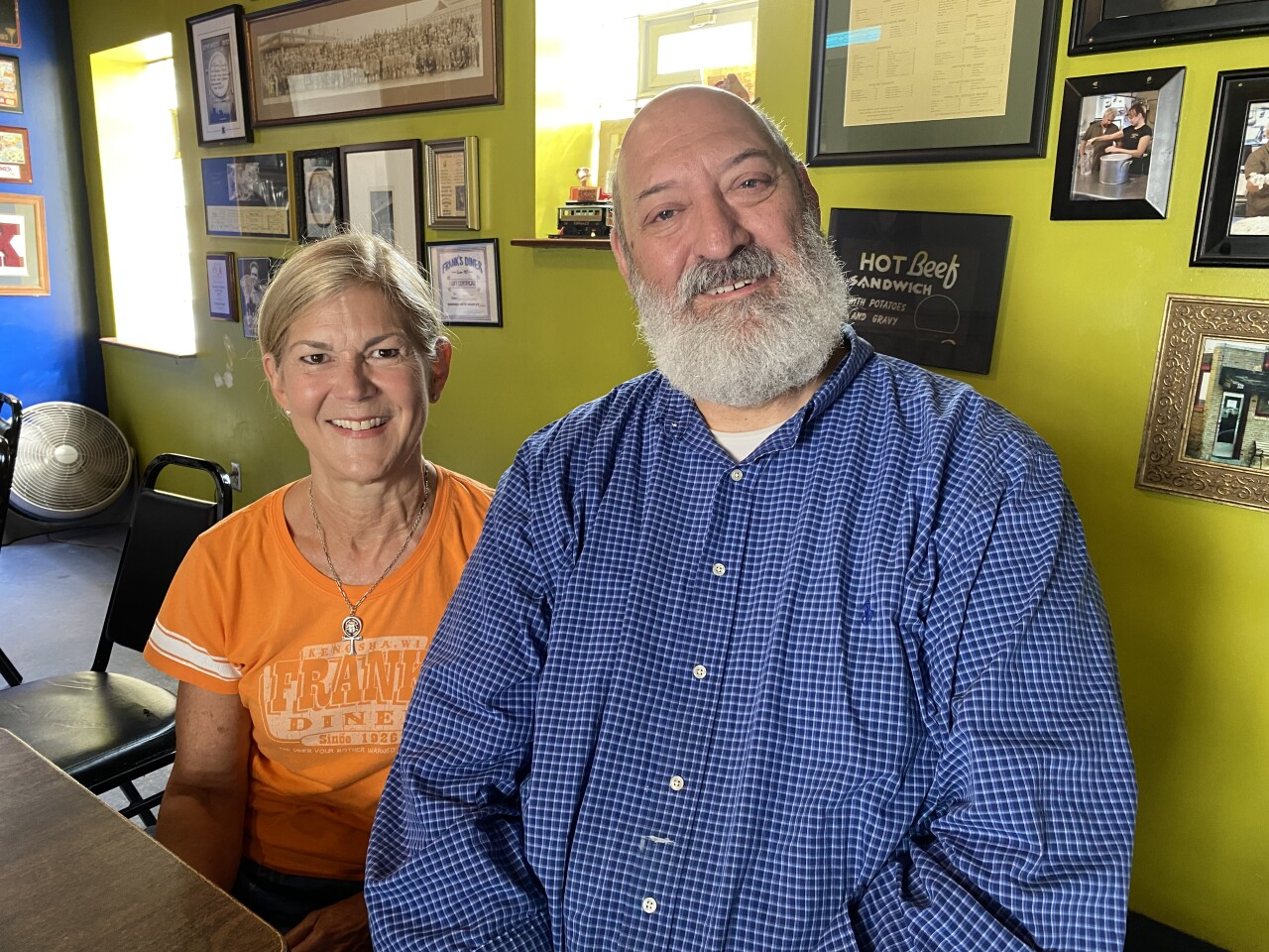Kevin Ervin and his wife Julie Rittmille sitting in Franks Diner