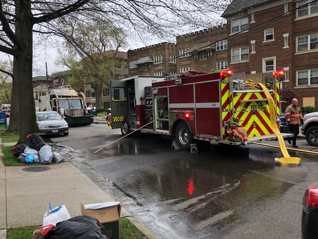 Scene of garbage truck fire in Cleveland Heights.