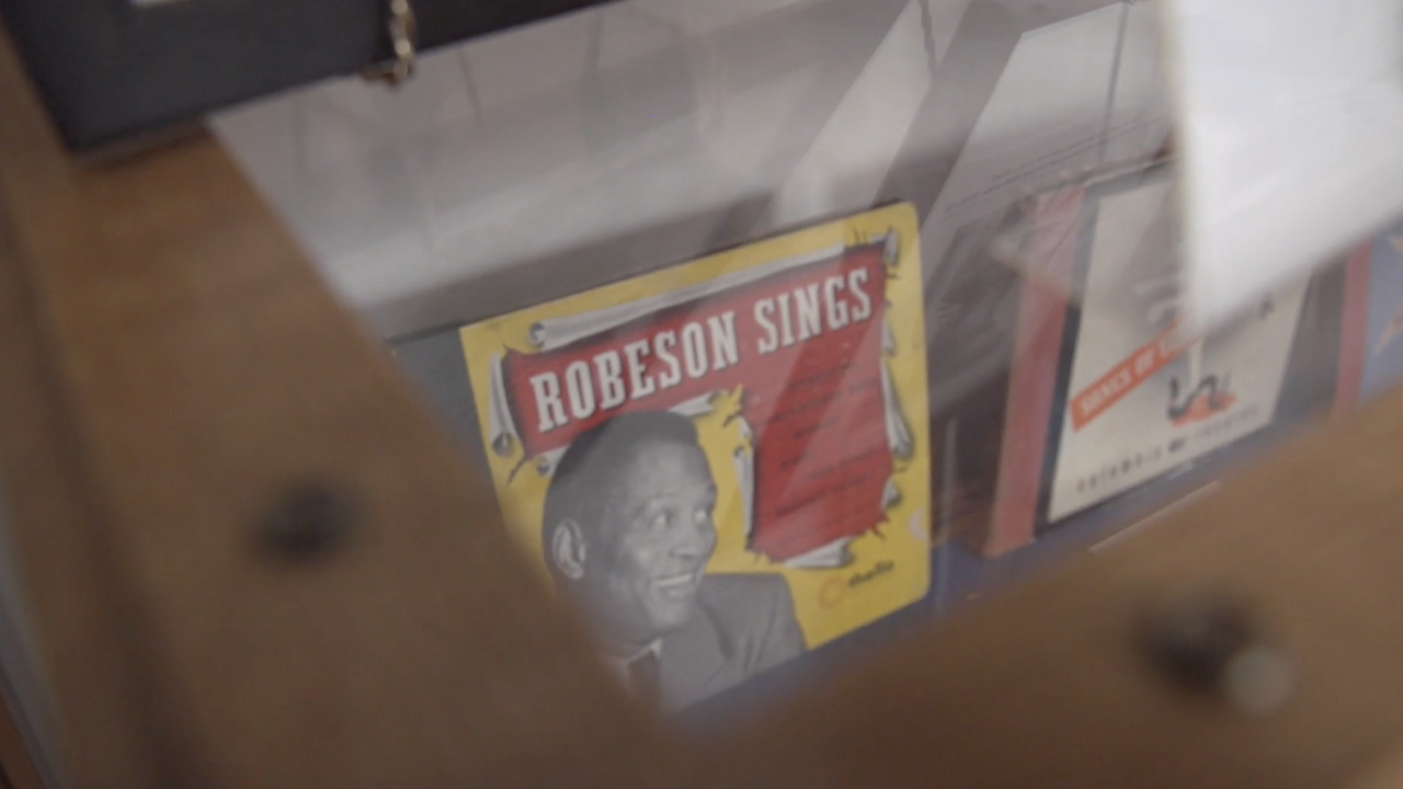 Inside the Paul Robeson House and Museum in Philadelphia, there are displays featuring his movies and albums from his more than 40-year career.