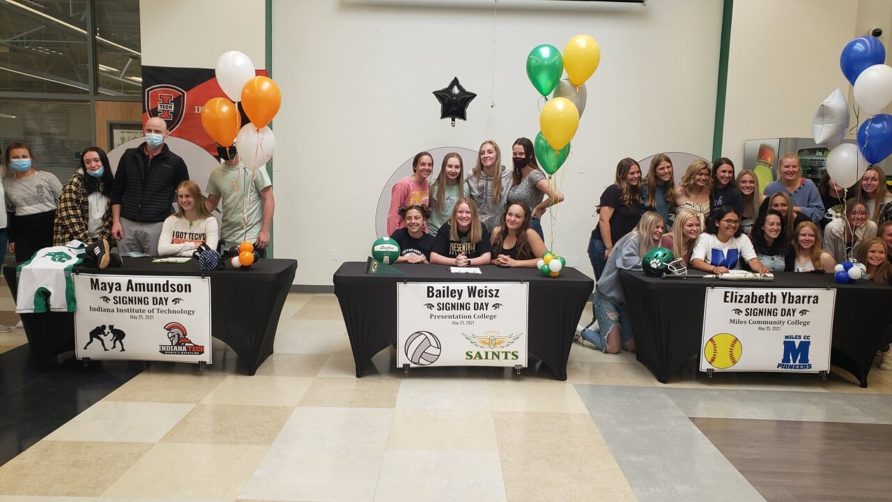 Three Belgrade athletes sign National Letters of Intent to play college sports