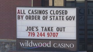 Sign outside of Wildwood Casino in Cripple Creek.