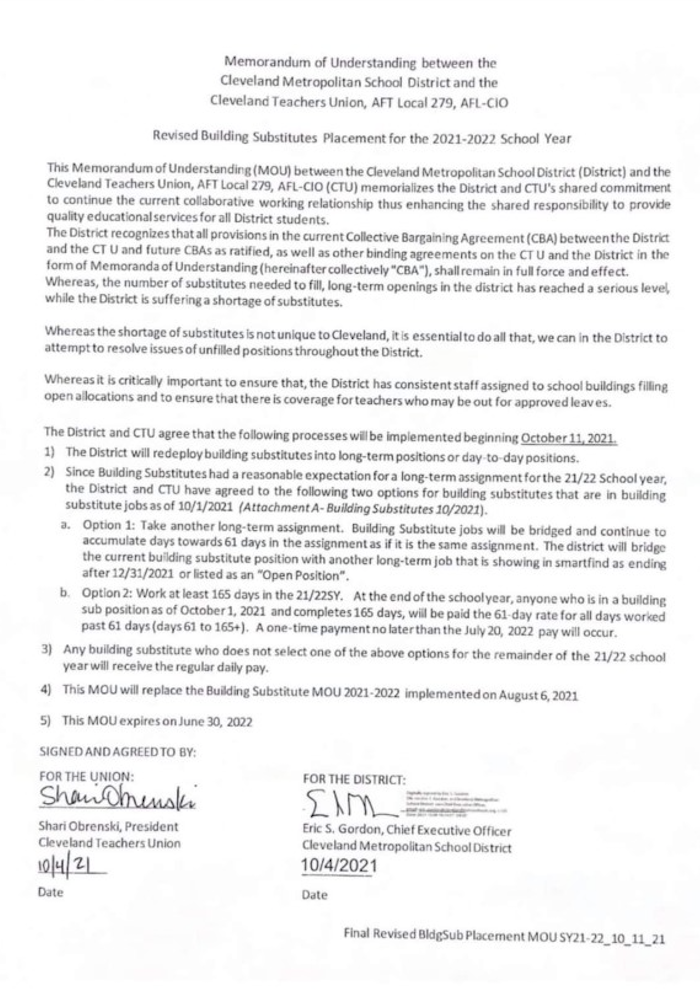 CMSD MOU for Substitutes