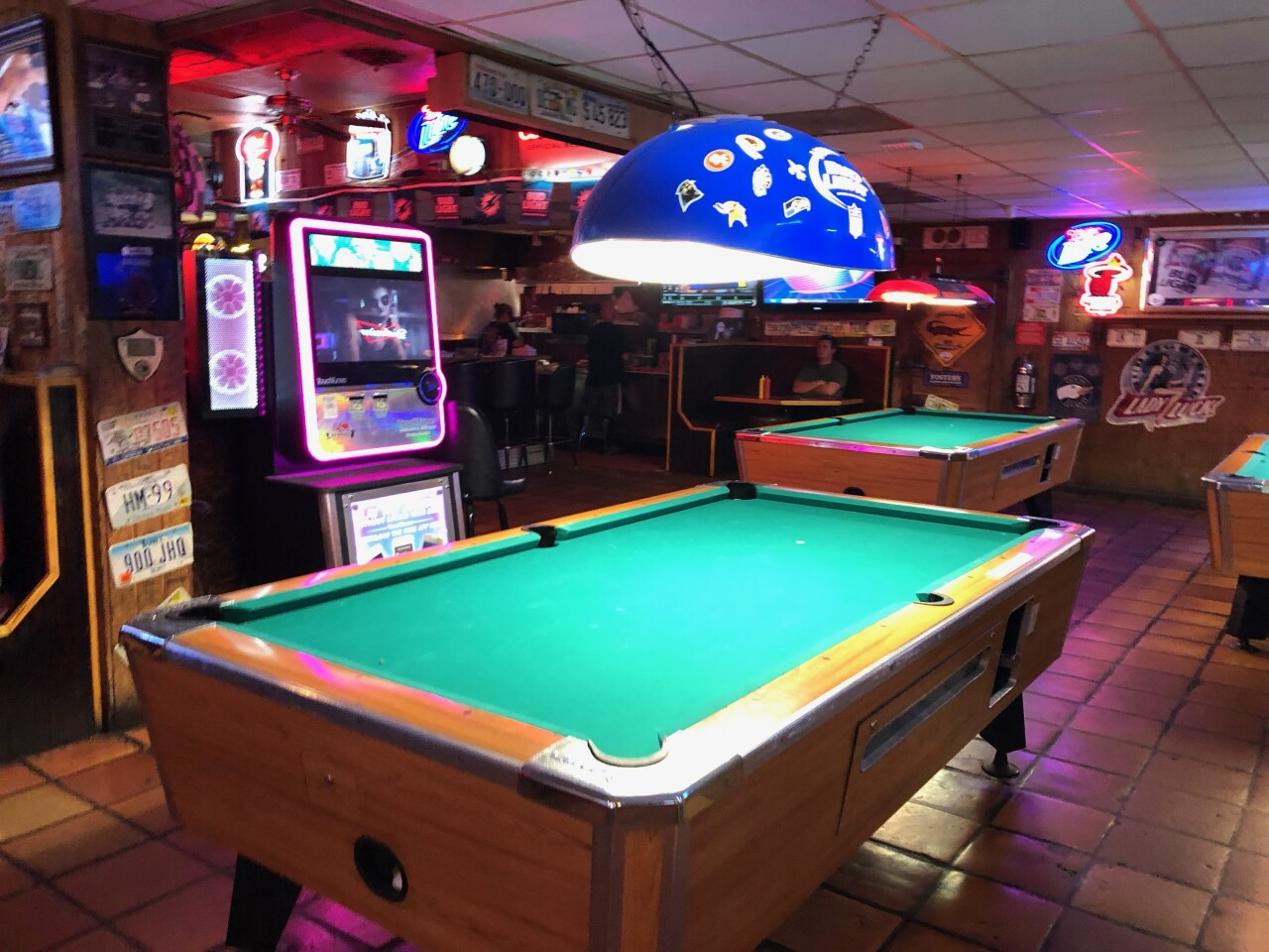 There are pool tables and a Touch Tunes Juke Box.