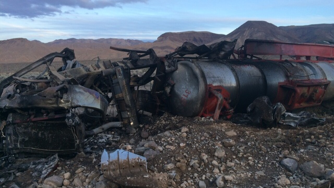 Crash results in hazmat spill in Death Valley
