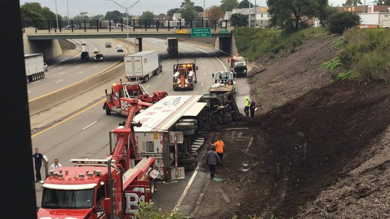Semi truck rolls onto vehicle on NB I-75 near Caniff Street in Detroit