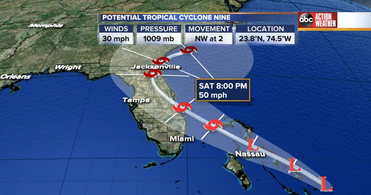 Tropical storm watch issued for parts of Florida's east coast