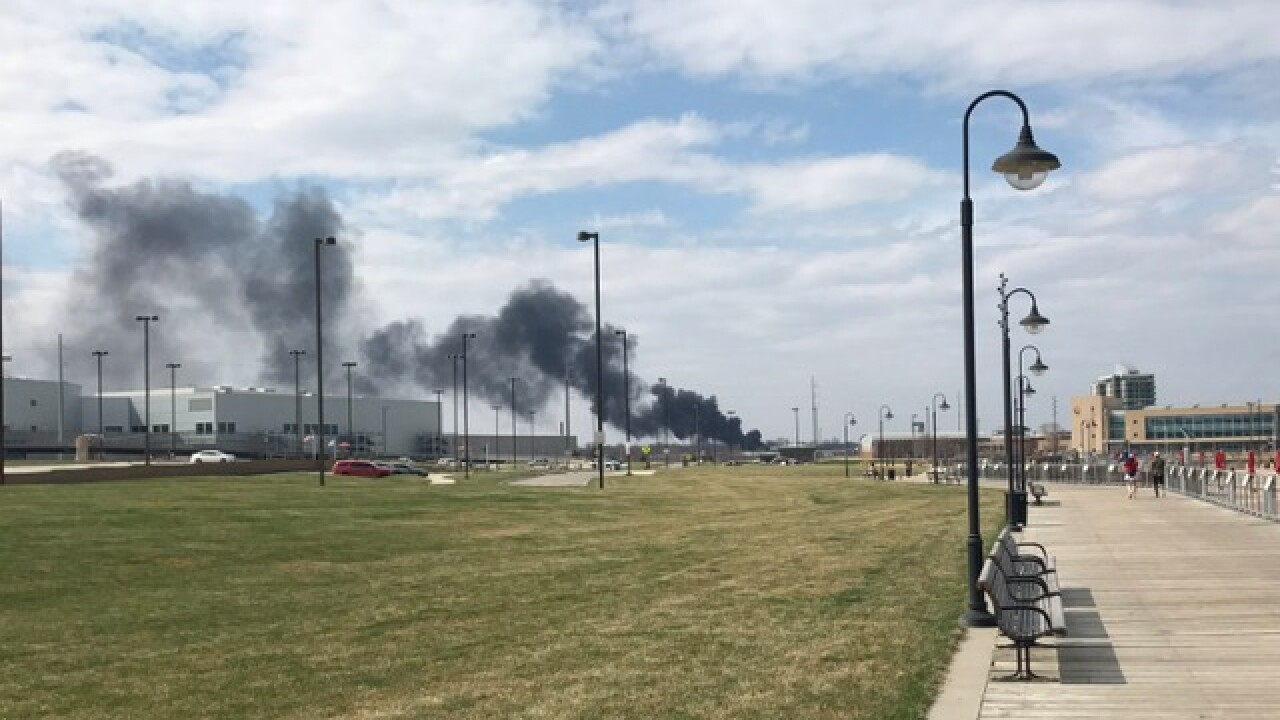 Fire crews battle tire fire near 14th and Grace