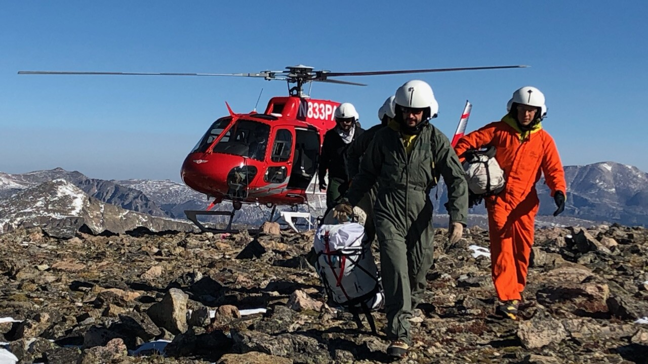 RMNP Search and Rescue Team Members Shuttled by Northern Colorado Interagency Helitak Between Taylor and Powell Saddle September 13 2020 for Steve Grunwald