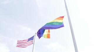 Pride rainbow flag with USA flag