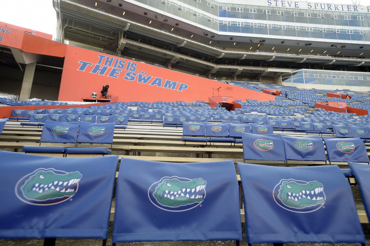 'The Swamp' Gators seat backs at Steve Spurrier-Florida Field at Ben Hill Griffin Stadium in 2016