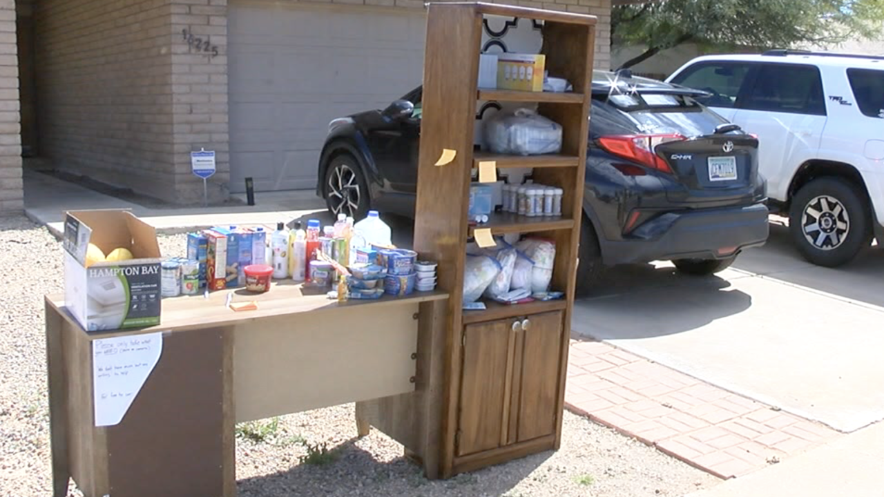 Valley family creates 'giving bookshelf' to offer supplies during COVID-19