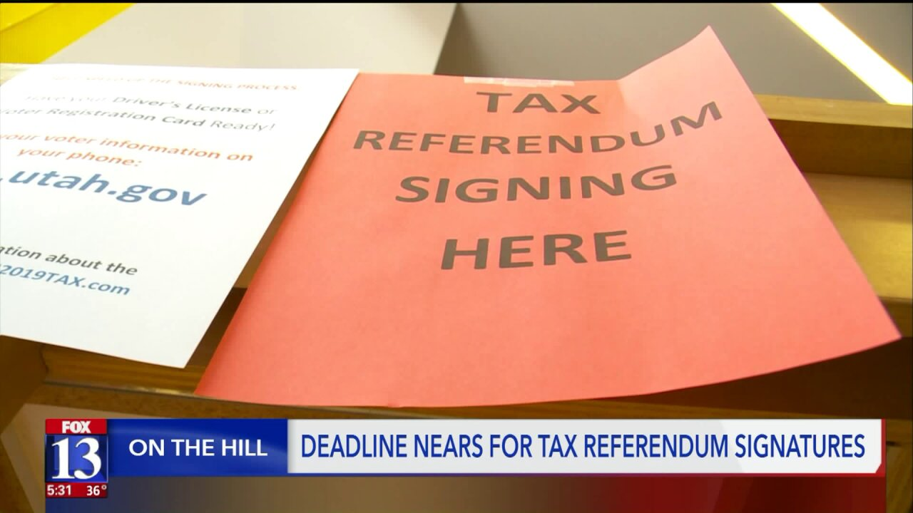 Referendum supporters plan a final push to get enough signatures to force a vote on the Utah legislature's tax bill