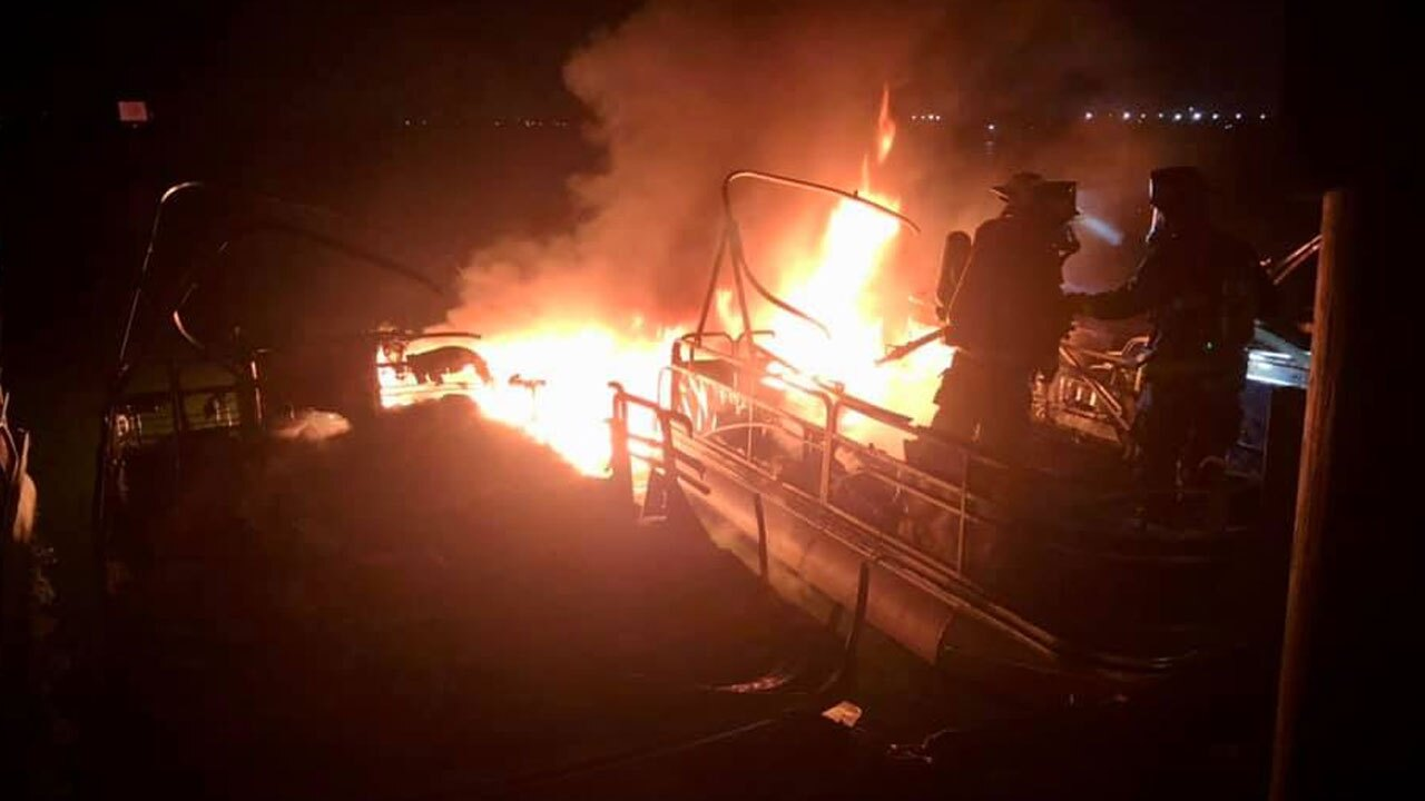 Fort Pierce boat fire caused by lightning, July 6, 2021