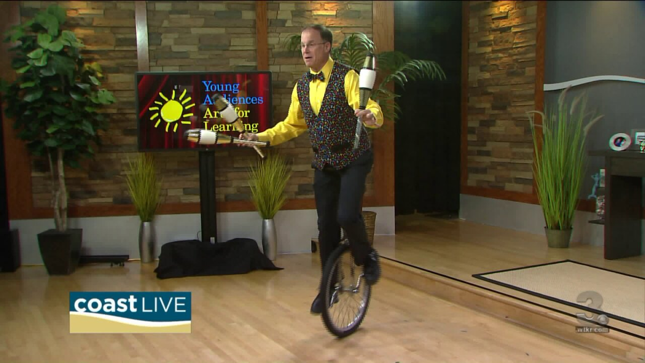 A lesson from Harold the Unicycle Juggler and Young Audience Arts for Learning on CoastLive