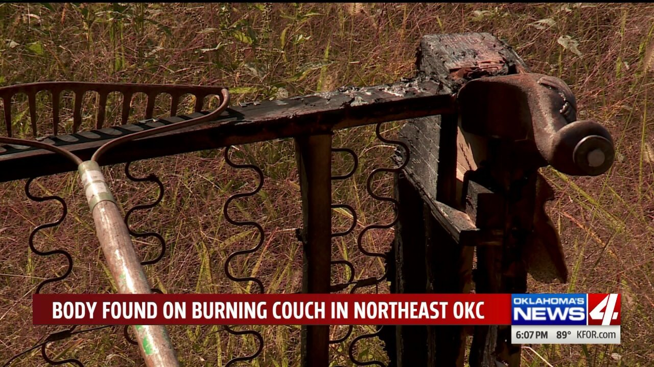 'It's a pretty unique case' Body found on burning couch along rural Oklahoma road