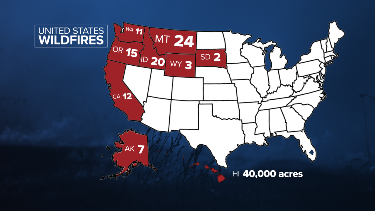 States with multiple large active wildfires on Aug. 5