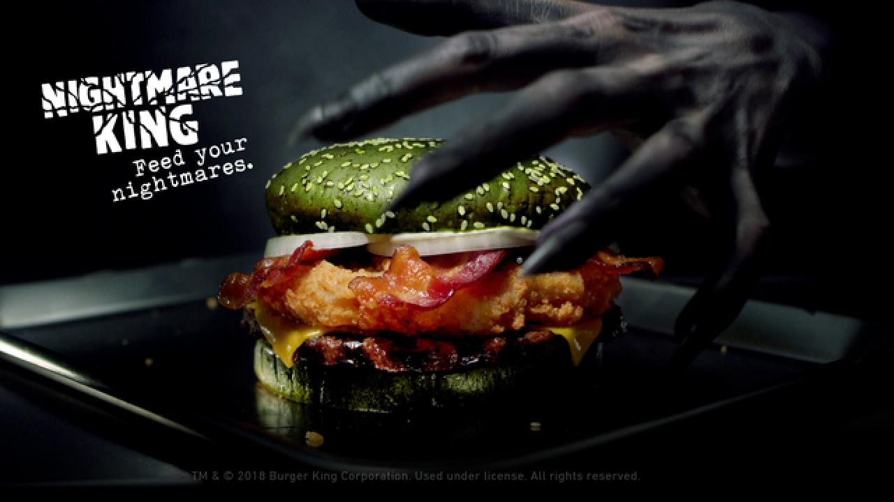 Burger King says its Halloween 'Nightmare King' sandwich literally increases nightmares