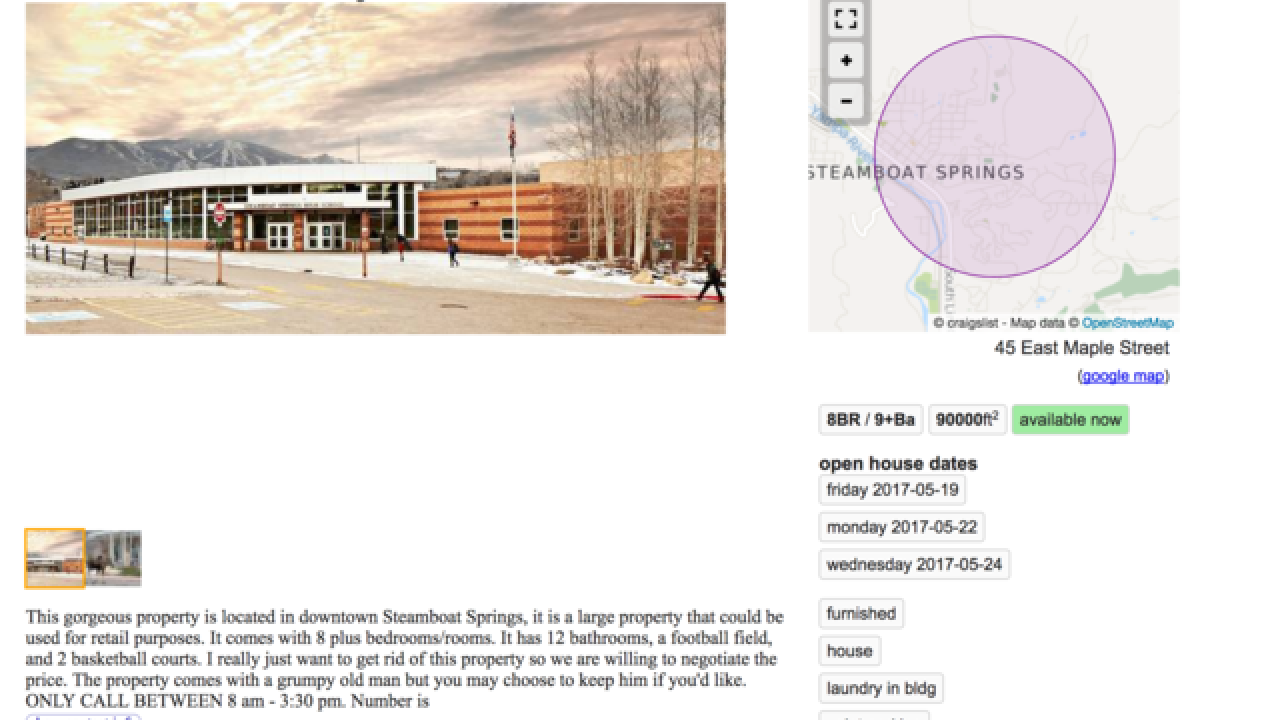 Students list Steamboat Springs H S  for sale on Craigslist