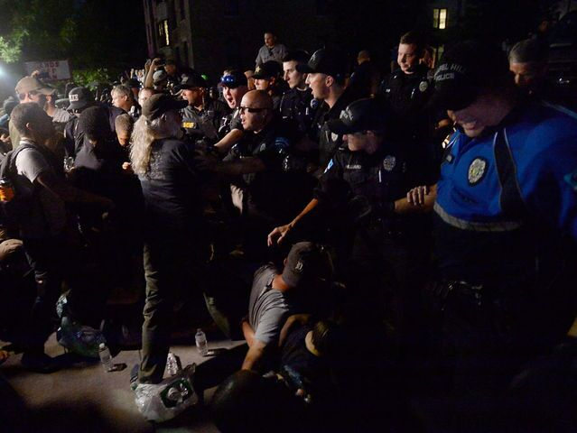 Photos: Protesters topple Confederate statue at University of North Carolina at Chapel Hill