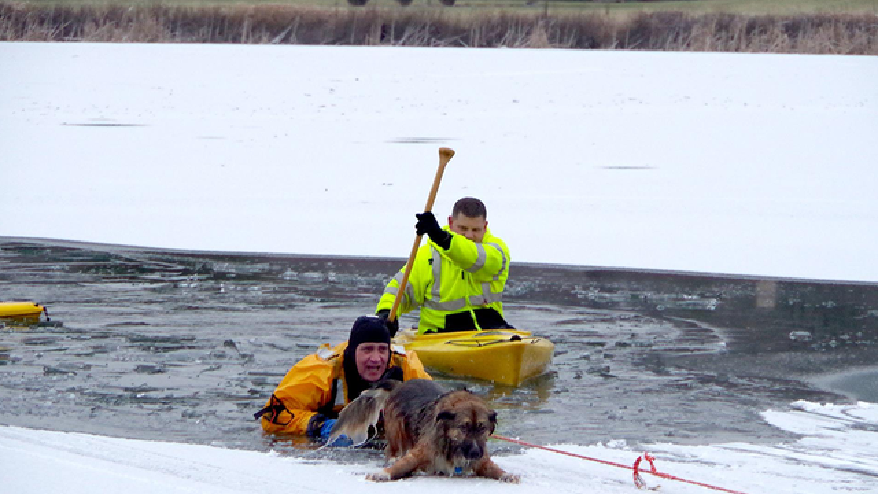 Firefighter rescues dog that fell through ice