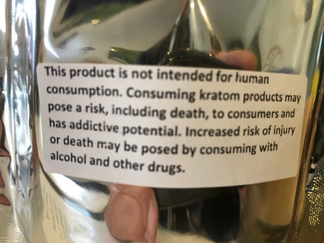 Kratom label - Not intended for human consumption