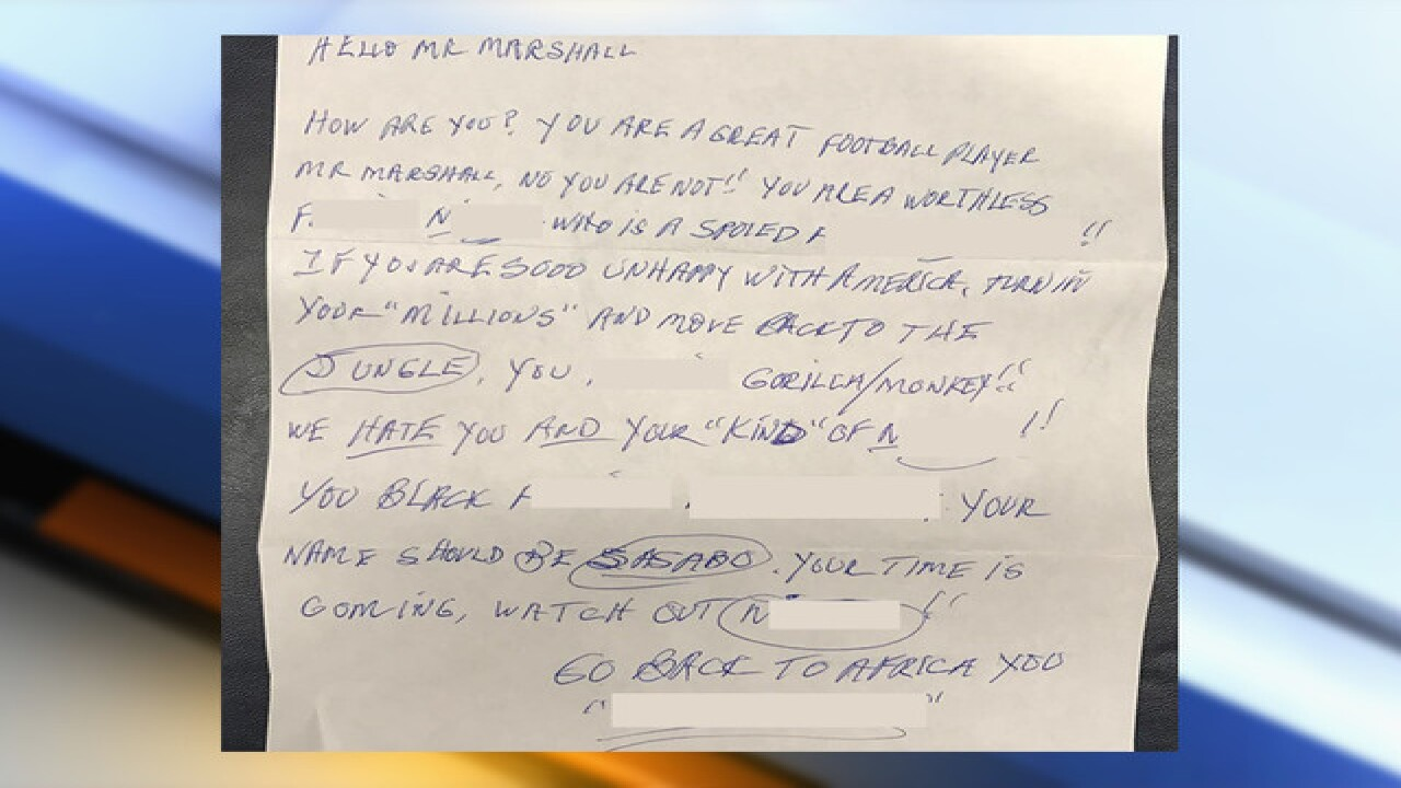 NFL player target of racist letter