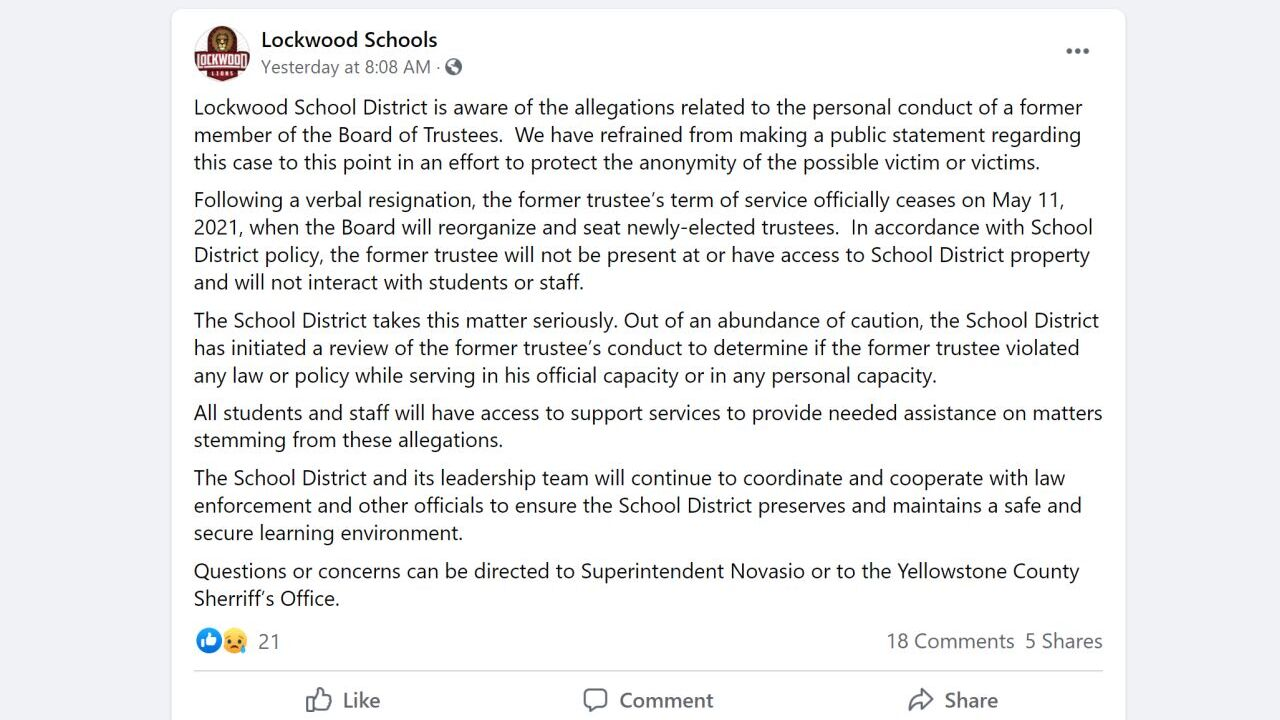 Lockwood Schools posted the following message on Facebook on Sunday morning