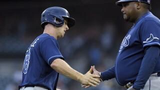 Joey Wendle, Rodney Linares Rays Tigers Baseball