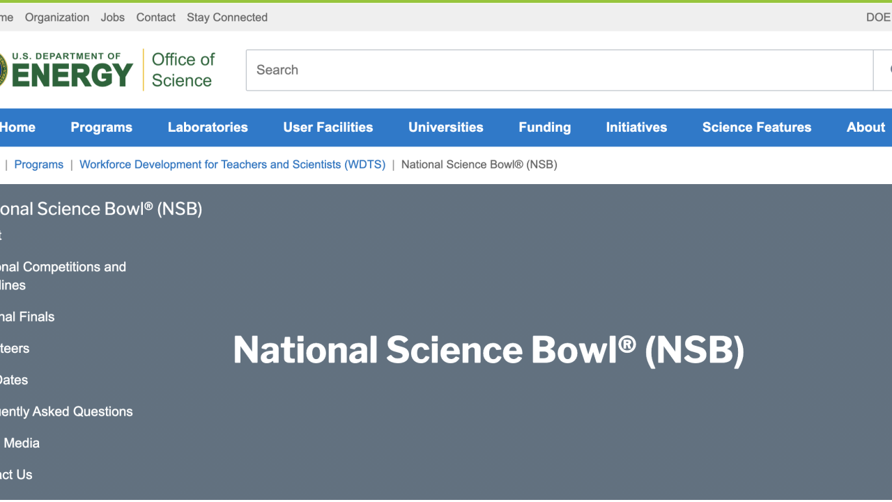 national science bowl webpage