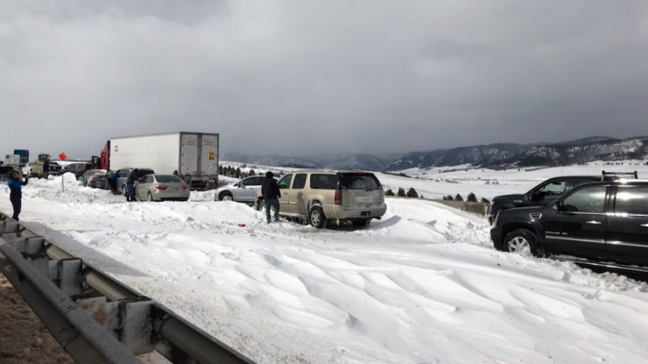 Bomb Cyclone Douglas County cars stuck on I-25