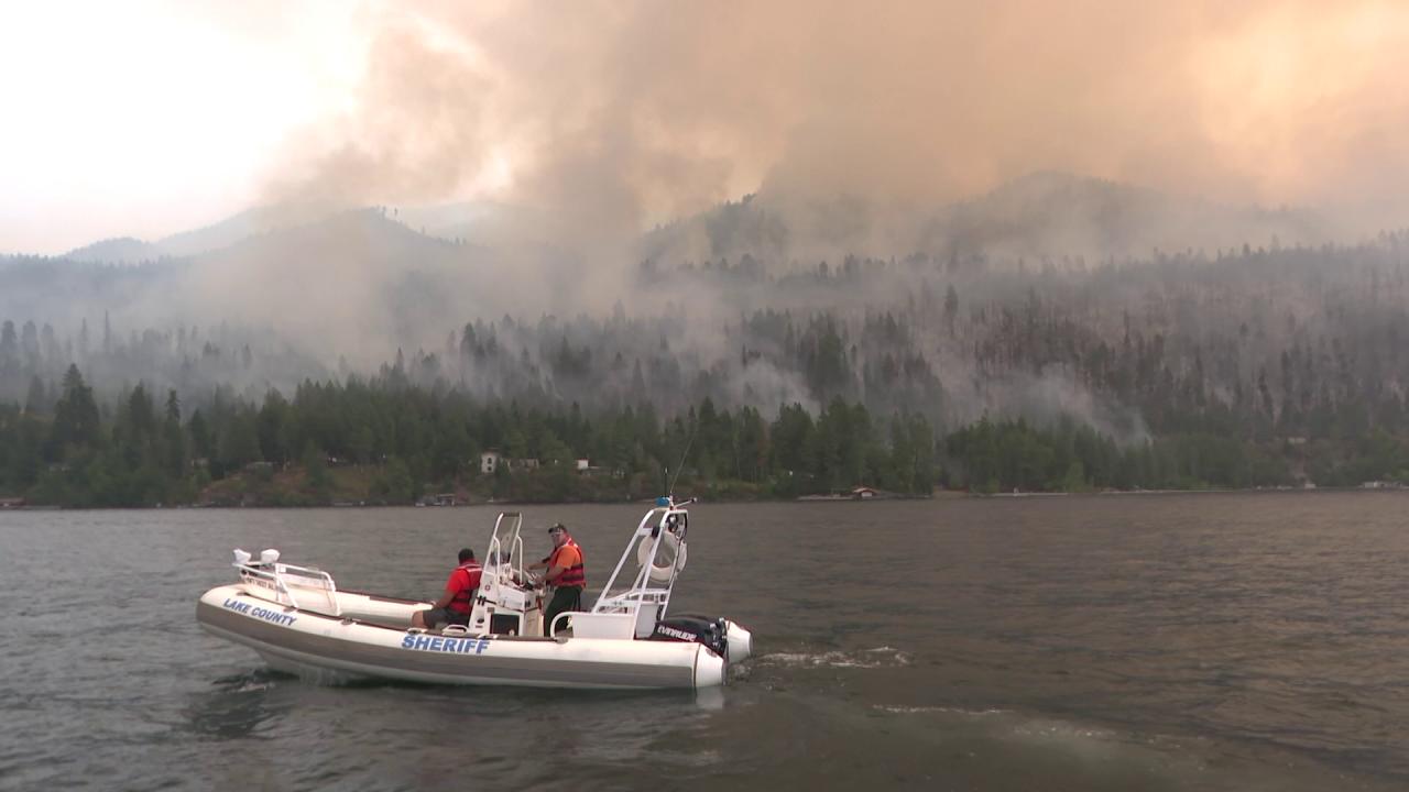 Devastation of Boulder 2700 fire seen from Flathead Lake