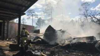 Mobile office trailer destroyed in fire