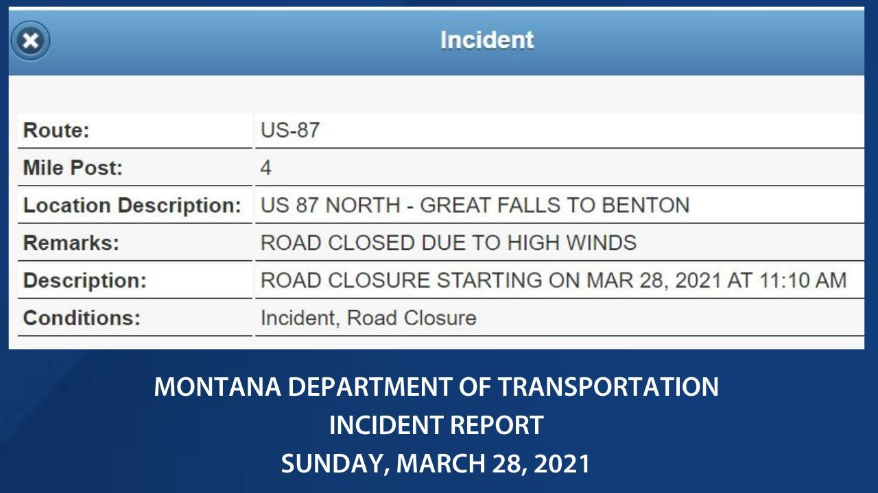 Road is closed between Great Falls and Fort Benton