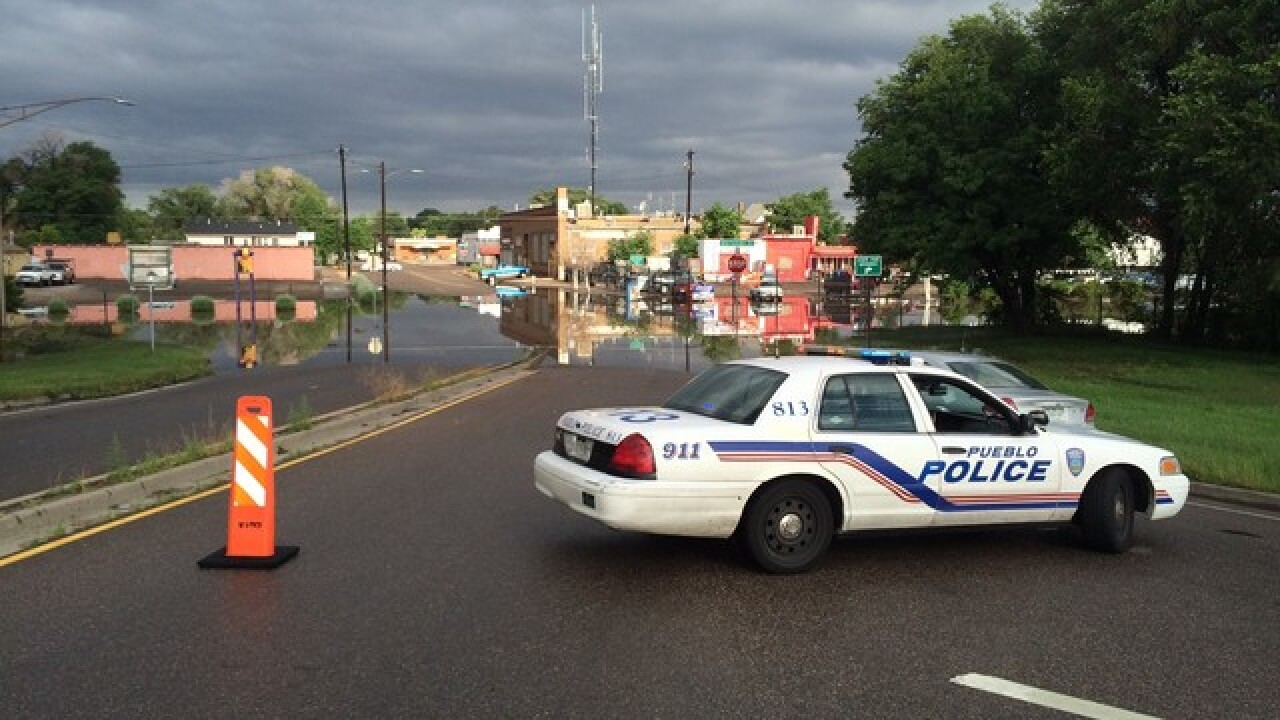 Late night flooding causing problems in Pueblo