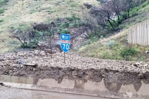 I-70 in Glenwood Canyon with sign
