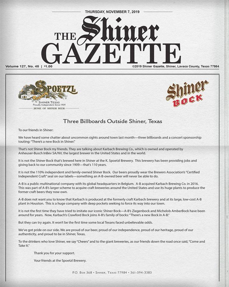 Shiner open letter