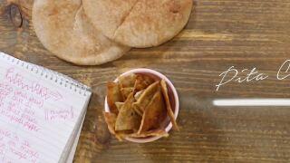 Homemade, crunchy pita chips