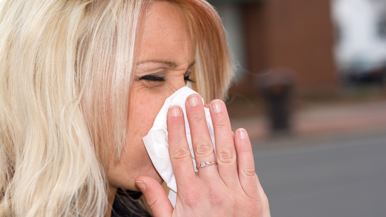 Blowing Her Nose - sneezing - allergies