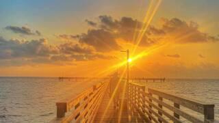 Heat is on at Fulton Pier - Photo By: FB Coastal Bend Weather Watcher Lu Ann Kingsbury