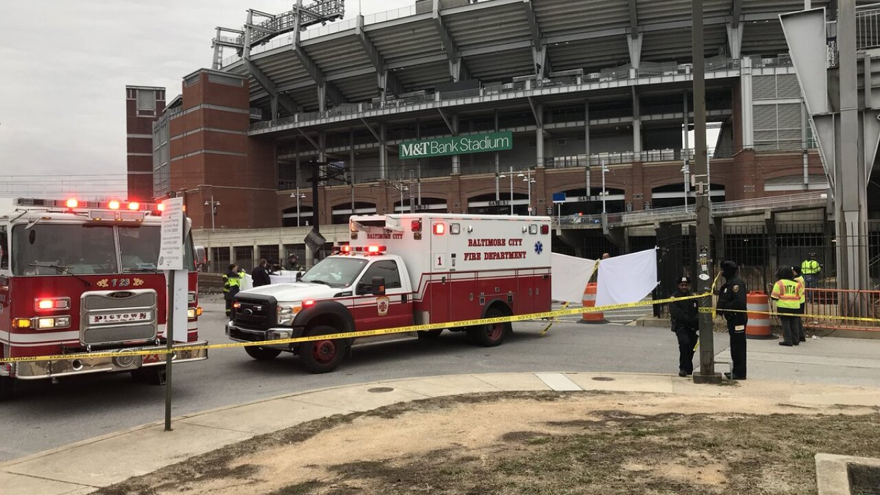 A man killed after a Port A Potty next to Ravens stadium caught fire.